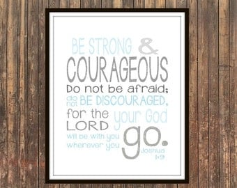 Joshua 1 9 Be Strong And Courageous Typographic Print