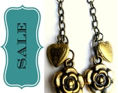 Antique Gold Steampunk Heart Locket Earrings, SALE - Gold brass dangle earrings with rosette charms and heart lockets