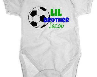 Little Brother Soccer Shirt or Bodysuit - Personalized Sibling Shirt
