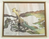 ON RESERVE for mmahlke - do not buy. 1970's Vintage Frank Frazetta Sci-Fi Art Mirror - The Sea Witch