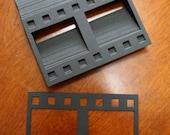 25 Black - 2 Picture Film Strip Paper Piecings - Scrapbooking Embellishment Die Cut