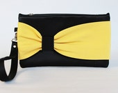 PROMOTIONAL SALE -Black yellow  bow wristelt clutch,bridesmaid gift ,wedding gift ,make up bag,zipper pouch,cosmetic bag ,zipper pouch