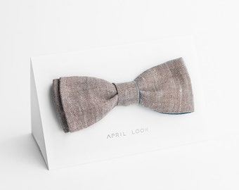 Brown bow tie, chambray bow tie