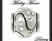 Cute - DISNeY - MiCKEY MOUSE Head Ears Charm Bead - Scattered CLEAR Crystals - Rhinestones - Great Quality - fits European Bracelets - MC