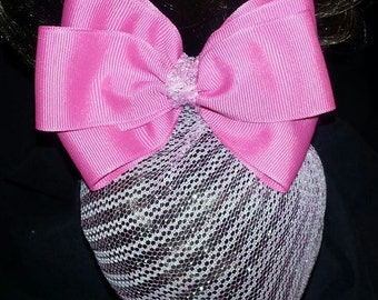Fantasy Rose Pink Bow with Silvery Pink Snood
