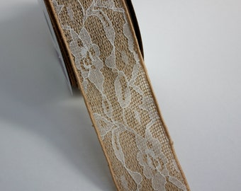 """2 1/2"""" Burlap Ribbon with Lace Overlay - Wire Edge - Lace Ribbon - Burlap Bows - Wreaths"""
