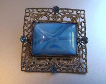 Art Deco Blue Star Czech Glass Filigree Brooch