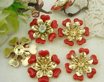6pcs( 20mm ) Gold Plated Hand Made Resin Glossy Bead Cap,Red(RG02)