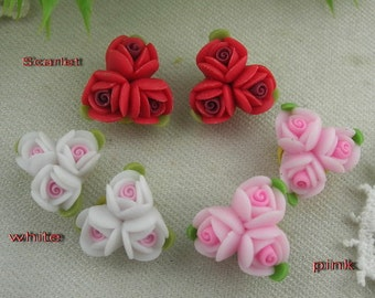 6pcs  Beautiful Unique Fimo Rose Flower,(FR1201)