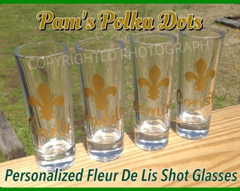 8 Personalized FLEUR DE LIS Shot Glasses with Name, Initial, or Word great wedding birthday anytime Mardi Gras gift