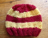 HALF OFF Ready to Ship - Newborn Stripe Beanie in Brick and Gold