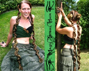 2 x BRAID HAIR PIECE Ponytail extensions C U S T O M Fantasy hair pieces 90 cm/ 36'' Tribal Fusion Belly Dance hair falls Fairy Larp Cosplay