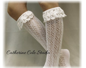 lace boot socks TARA cream Boot socks womens boot cuff socks lacey tall knee socks pointelle knit lace boot sock Catherine Cole Studio BCS6