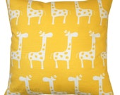 Nursery Pillow, Corn Yellow Giraffe Pillow Cover, Animal Decor, Kids Pillow, Baby's Room, Toddler Bedding, Zippered Pillow, Yellow Pillow