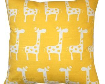 Nursery Pillow, Corn Yellow Giraffe Pillow Cover, Animal Decor, Kids Pillow, Baby's Room, Toddler Bedding, Zippered Pillow, Yellow Pillow