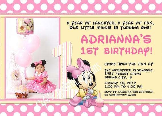 Image Gallery of Baby Minnie 1st Birthday Invitations