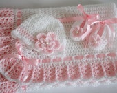 Crochet Baby Blanket,Hat and Booties, Pink with White Granny Square Crochet, Baby Shower Gift