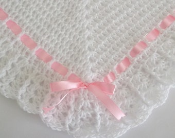 Crochet Baby Blanket / Afghan White , Pink Satin Ribbon , Christening, Baptism Baby Shower Gift