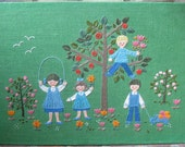 Kids wall hanging, kids picture, scandinavian wall art, swedish picture, kid's room decor, nursery decor, embroidered picture