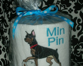 "Miniature Pinscher Min Pin ""Poo Poo Paper"" Toilet Paper - For the dog lover who has everything... Great Gift"