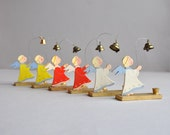 SALE 30% OFF! Erzgebirge Angel with Bells Candleholder- Germany - Set of 2