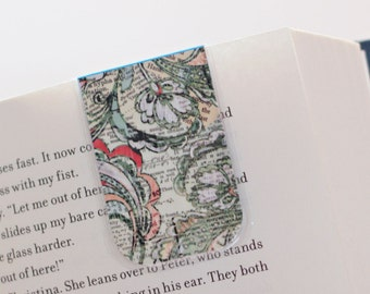 Magnetic Bookmark, Laminated Bookmark, Vintage Book, Floral Pattern, Type Print Bookmark, Ready to Ship
