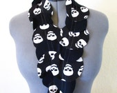 Black and White Skull Print Scarf - Eco friendly - sustainable fashion