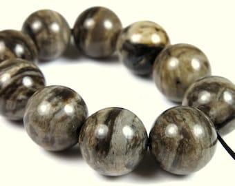 Silver Leaf Jasper Round Bead - 12mm - 10 Pieces - B0738