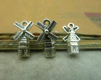 30 pcs 9x17mm The Windmill   Silver color  Pendant Charm For Jewelry Pendant C4842