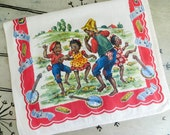 Cotton G W Prismacolor Kitchen Towel Black Americana Children Playing Music Colorful Kitchen Towel Retro Towel Vintage Dish Towel