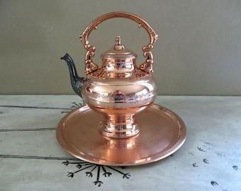 Antique Copper Teapot Tea Service Coffee Service Copper Tea Copper Tray Copper Decor Copper Serving Tray Cop