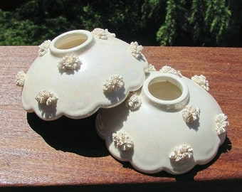 Vintage Holt Howard Candleholders -  Scalloped Edge - Spaghetti Rosettes - Iridescent  Paint -  Hollywood Regency