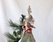 Christmas Tree topper, Snow Queen, Surreal Xmas, silver and white