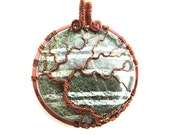 "Tree of Life Pendant - Gorgeous Green Spark Jasper Stone Cabochon with Chestnut Brown Wire - 2"" x 2.5"""