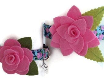 V.I.P. Blue Vintage Rose Dog Collar