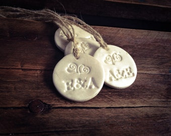Wedding Gift Tags, Pearl White Gift Tags, Clay Gift Tags, Wedding Tags, Wedding Favor Tags
