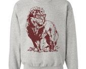 On Sale - Lion Professor Sweater Flex Fleece Pullover Classic Sweatshirt - Heather Grey - Size XL