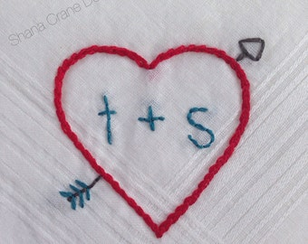 Shot Through the Heart . Hand-embroidered Handkerchief