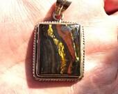 Tiger Iron pendant, sterling silver setting, Vintage Pendant