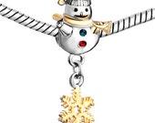 Sale! Snowman Charm Bead -  Christmas Charm Winter Snowman - Fits all European Charm Bracelet Systems