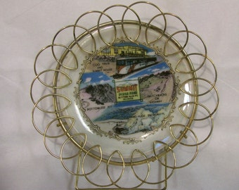 """Vintage PIKES PEAK Souvenir Plate Summit Colorado Small 3"""" Collectors Plate with Gold Wire Border"""