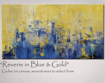 Painting Abstract Art in Golden Yellow and Blue, X Large 48x24