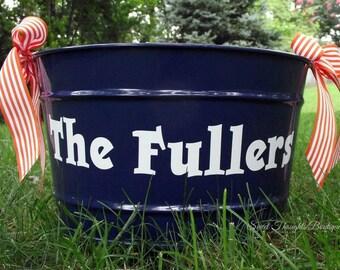 Monogrammed Ribbon Bucket, Personalized Ribbon Bucket, Wedding Gift Ribbon Bucket, Monogrammed Bin, Personalized Bin, Personalized Tub