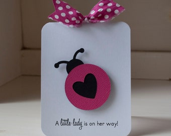 Ladybug Baby Shower Invitations Baby Girl First Birthday Party Hot Pink and Black Polka Dots Lady Bug