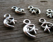 20 Silver Moon and Star Charms 12mm Antiqued Silver