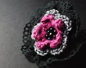 Flower Brooch, Crochet Brooch, Crochet Flower Brooch, Amaranth Brooch, Pink Brooch, Pink Flower