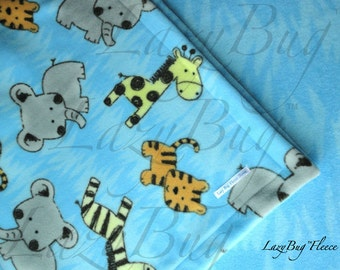 Play Yard Sheet Blanket Set Handmade Fleece Bedding Set for Babies 'Blue Jungle Animals' Print