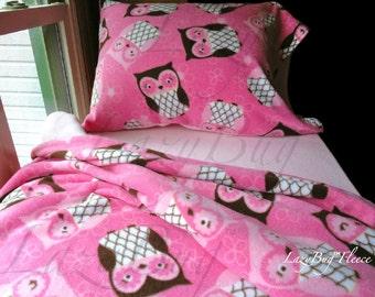 Girls Owl Bedding Baby Toddler Size Fleece Bedding Set Handmade Fleece Bed Sheets for Girls