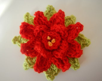 Crocheted Poinsettia - crocheted in-the-round