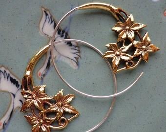 NATURE'S KISS - Metal Flower Hoop Earrings - Tribal Gauge Jewelry